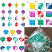 100pcs DHL Multi shapes fidget bubble poppers toys simple dimple key ring push pop bubbles popper board keychain bag pendant charms kids adult stress reliver