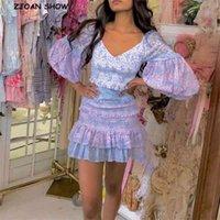 Sexy V-Ausschnitt Rüschen-Paket Hüften Blumendruck Laterne Langarmkleid Frauen Elastische Geruch Ruhnierte Kurz Party Kleider Slim Fit Vestido 210402
