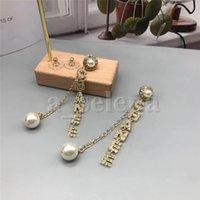 Cadena de letras de moda Pendientes Pendientes Pendientes de Pearl Alfabeto Inicio Marca Ear Studs Bar Pendiente de hilo largo para mujeres