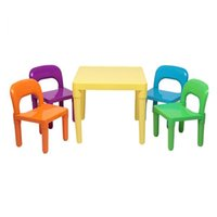 Plastic Table And Chair for Children One Desk Four Chairs Girls Boys Play Picnic Educational Dining Playroom Furniture (50x50x46cm)
