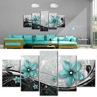 5 Pçs / set Modern impressões Flores Pintura a óleo em fotos de arte de parede para casa Decoração de sala de estar (sem moldura) 623 S2