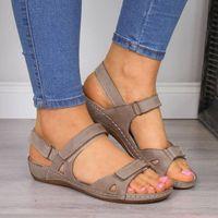 Сандалии Ranmo женщины плоские открытые пальцы на пляже женские туфли сплошной обувь повседневная платформа вырезать удобные дамы