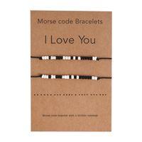Morse Code Beaded Strands Bracelets I Love You Braid Rope Bracelet With Gift Card Fashion Beads Jewelry