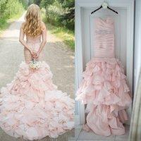 Boho Blush Pink Mermaid Wedding Dresses 2022 vestido de noiva lace-up country Sweetheart Ruffle Organza Bridal Gowns gelinlik