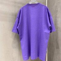 Vetimentos Roxos da impressão da espuma 3D Camiseta Homens Mulheres Oversized Letra Branca Logotipo Tee vetimentos camiseta
