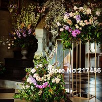 Party Decoration Display Flower Candle Holder Road Lead Table Centerpieces Metal Gold Stand Pillar Candlestick For Wedding Candelabra 00058