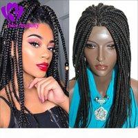 Perruque tressée de haute qualité avec poils bébé Tressage synthétique cheveux résistant à la chaleur noire Boîte noire tressée Perruque avant pour femmes noires