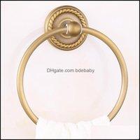 하드웨어 욕조 홈 Gardenantique Brass 수건 링 매달려 브러쉬 완료 홀더 유럽 스타일 욕실 Aessories 새겨진 제품 드롭 델리