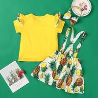 Kids Clothing Set Baby Girl Pineapple Printing Ruffle Short Sleeve T Shirt Tops+fruit Floral Bow Suspender Skirts Clothes Sets
