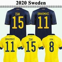 2021 Ларссон Форсберг Ибрагимович Мужские футбольные трикотажки Ekdal Isak Home Yellow Away Blue Football Рубашки Швеции Униформа сборной Швеции