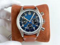 Reloj de pulsera de los hombres. Movimiento automático de la cadena automática de 6 pines 7750, concha de metal de titanio, a prueba de agua 50, equipado con la gasolina azul literal, cinturón de cuero retro, 41 mm
