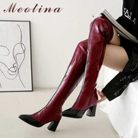 Meotina Winter Thigh High Boots Women Patent Leather Thick High Heel Over The Knee Boots Slim Mixed Colors Zip Shoes Ladies Fall 210608