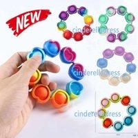 DHL gratuit Fidget Reliver Stress Stress Jouets Rainbow Bracelet Poussoir Bulle Antistress Adulte Enfants Sensory jouet pour soulager l'autisme CY01