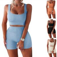 Summer Women's Coubled Tritsuits Chaleco deportivo Set de dos piezas Set umbilical Tank Tops Lady High Cintura Yoga Shorts Ropa Tamaño S-XL