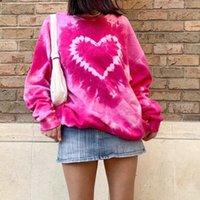 Women's Hoodies & Sweatshirts Women Autumn Long Sleeve O-Neck Sweatshirt Pink Heart Tie-Dye Printed Pullover Tunic Tops Harajuku Oversized L