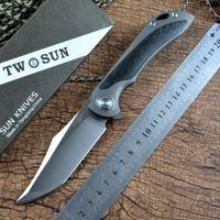 Twosun Marca Facas dobráveis M390 Steel Satin Faca De Bolso Terminada Para Presente Coleções De Caça Ao Ar Livre Coleções Sobrevivência EDC Tool TS224