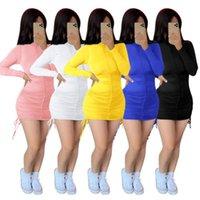Bulk sexy long sleeve Y2k dress solid bodycon mini dresses one piece set fashion Draw string party evening night club wear clothes klw7397