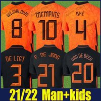 هولندا ممفيس F.de جونغ كرة القدم الفانيلة 2021 Wijnaldum Ake دي Ligt Football Jersey Blind Dumfries Gravenberch National Team Shirts Klaassen Whagorst Men Kids 20/21