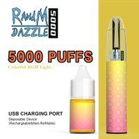 100% original disposable cigarettes Randm Dazzle max Pro 5000 puffs VS R and M 2600puffs light glowing factory wholesale LED vape pen