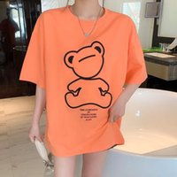 2021 guillotine bear embroidery short sleeve T-shirt women's summer new drop shoulder loose medium length top 110692 8M7X
