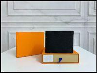 2021 Высококачественные L Billfold Wallet Paris Paris Clipe стиль дизайнеры мужской кошельки женские кошельки высокого класса роскоши сумки с оранжевой коробкой пыли