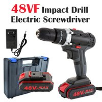 48VF Wireless Electric Drill Impact Drill Wrench Screwdriver Double Speed Power Hand Driver Drill Hammer with Battery Tool