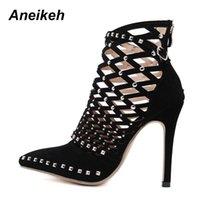 En Kaliteli Aneikeh 2021 Gladyatör Roma Sandalet Yaz Perçin Çivili Kesilmiş Kafes Ayak Bileği Çizmeler Stiletto Yüksek Topuk Kadın Seksi Ayakkabı Pompaları