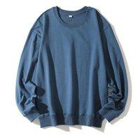 Мужские футболки Parklees 2021 Твердые хлопок тянуть футболку мужской с длинным рукавом подол ребристый подол O-шеи негабаритные плюс размер топы повседневные повседневные ежедневные уличные 11 Col