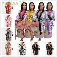 Ropa de dormir para mujer sexy Pijamas casuales Liberías de moda Robas satinados Dólar estadounidense Impresión de encaje hacia arriba Camisones de longitud media