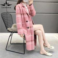 Leiouna lâche 2021 vison comme un manteau du milieu de femme épaissie d'un automne épaissie d'automne tricoté cardigan couches de laine mélanges de laine
