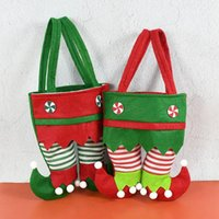Noel Süslemeleri Hediye Çantası Yeşil Kırmızı Elf Kola Şarap Çantaları Yıl Festivali Parti Şeker Paketleme Malzemeleri Şekeri