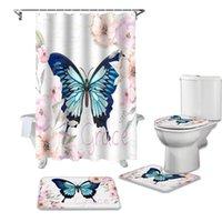 Duschvorhänge Schmetterling Blume Musik Notizen Vorhang Sets Rutschfeste Teppiche WC Deckelabdeckung und Badematte Wasserdichtes Badezimmer