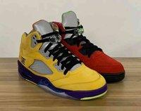 2021 Yeni Sürüm Otantik 5 Neylik Mısır Mahkemesi Mor Ghost Yeşil Güneş Orange5s Erkekler Açık Ayakkabı Spor Sneakers ile Kutusu