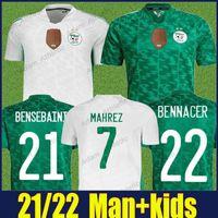 Cezayir Futbol Formaları Ulusal Takım Üniformaları 2021 2022 Adam Çocuk Kiti Bansebaini Bennacer Mahrez Futbol Jersey Atal Brahimi Benrahma Maillot de Calrien 21/22 Üst