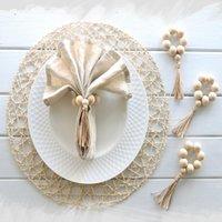 Gioielli Anelli di tovagliolo per perle in legno nappa Med Holder Holder Stovingware Decorazione fatta a mano 4 pezzi