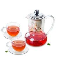 Çay Seti-530 ml Isıya Dayanıklı Cam Çay Potasözsüz Çelik Infuser + 2 * Bardak + Daüstü