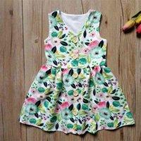 2021 verão casual infantil infantil vestido com botão aberto garota verde folhas de flor grande saia bebê hh42301