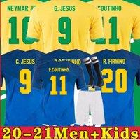 Brasil 2020 2021 Camiseta de Futbol Paquete Neres COUTINHO Camisa de fútbol Firmino Jesús Jersey Jersey Marcelo 2022 Maillot de Foot Brasil Hombres + Niños