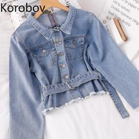 Women's Jackets Korobov 2021 Fashion Turn-Down Collar Women Korean Streetwear Long Sleeve Sashes Button Denim Coats Pockets Top