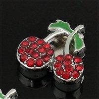 10 unids 10 mm Rhinestone rojo Cherry Charms Charms Beads Fit 8mm DIY Thone Strips Tags PET COLLAR BRANTS Pulseras 1106 Q2