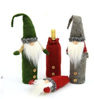 Christmas Gnome Wine Bottle Cover Handmade Swedish Tomte Gnomes Santa Claus Bottles Toppers Bags Holiday Home Decorations DD561