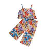 5-10Y Summer Kids Girls Clothes Sets 2pcs Flowers Printed Strapless Bow Vest Tops Long Pants Chiffon Outfits Clothing