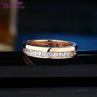 Cluster Rings Wuziwen Eternity 14 K Rose Gold Wedding Engagement For Women Promise Ring Zircon BR0696