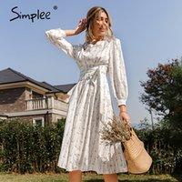 Simple longa flor manga flor impressa mulheres vestido com cinto elegante cintura alta primavera vestidos 2021 feminino floral maxi vestidos