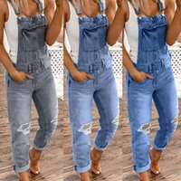 Women's Jeans Overalls For Women Washed Summer Playsuits Denim Bib Casual Ripped Jumpsuits Rompers Macacao Feminino #js5