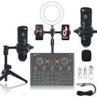 Sound Card for Live Show Set Bm800 Live Streaming Equipment Full Set Microphone Beauty Lamp Mobile Phone Karaoke Fill Light Sound Card Set F