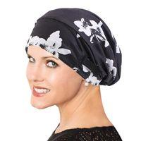 Women Satin Lined Bonnet Sleep Cap Ethnic Floral Print Adjustable Wide Band Slouchy Beanie Turban Hat Muslim Head Cover Beanie Skull Caps
