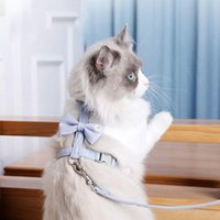 Cat Collars & Leads Bow I-Shaped Pulling Rope Chest And Back Small Floral Adjustable Chain Pet Supplies Dog Harness Leash Set