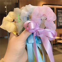 Hair Accessories French Style Girl Bow Long Streamers Scrunchies Ribbon Women's Knot Of Organza Ponytail Holder Rope Elastic Bands