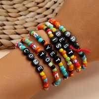 Charm Bracelets 2021 Design Colorful Acrylic Beaded Black Letter Beads Resin Bracelet For Women Girls Party Handmade Jewelry Accessories